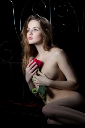 young woman posing nude with rose in moon light on bed Stock Photo - 17533849