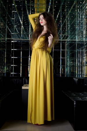 Full length portrait of brunette woman in long dress in club photo