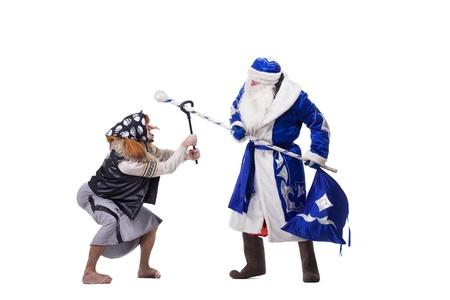 ded moroz: Angry Baba Yaga and Father Christmas  Isolated on white