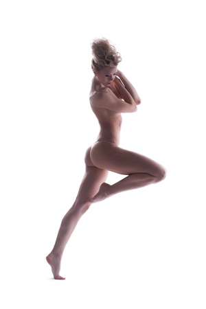nude female body model: Slim nude blonde woman  Isolated on white