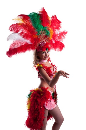 cabaret: Playful young dancer in colorful festival costume, close-up
