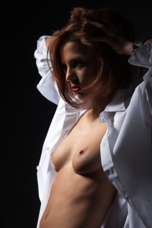 topless brunette: Portrait of beautiful topless brunette in white blouse