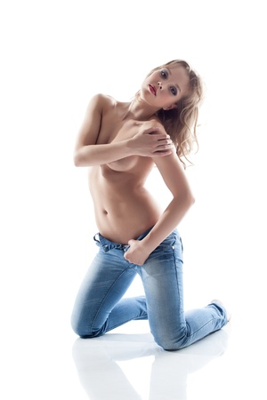 topless jeans: Image of pretty topless woman posing in jeans, isolated on white Stock Photo