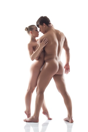 nude sport: Image of attractive naked woman hugging man, isolated on white Stock Photo