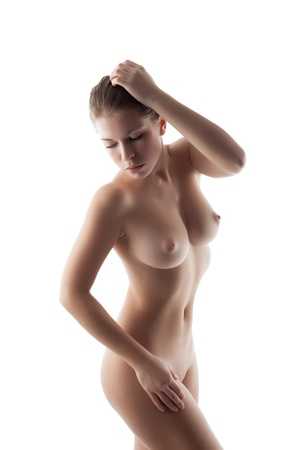 nude breast: Portrait of charming nude girl on white background, close-up