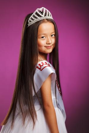 beauty contest: Portrait of charming little beauty contest winner Stock Photo