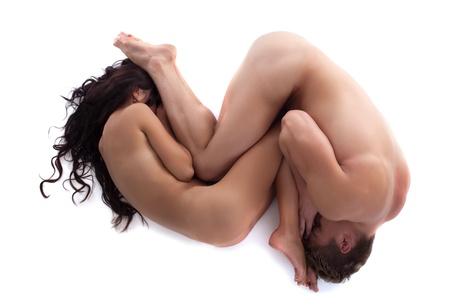 naked man: Image of embracing body of lovers isolated on white background Stock Photo