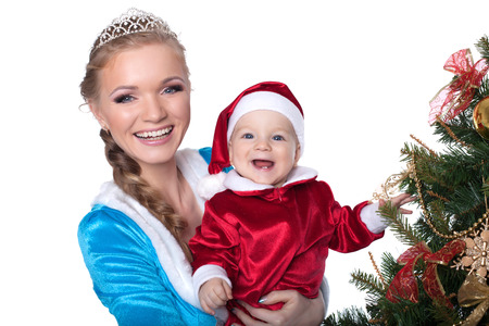 snow maiden: Portrait of happy baby-Santa and mom-Snow Maiden, isolated on white