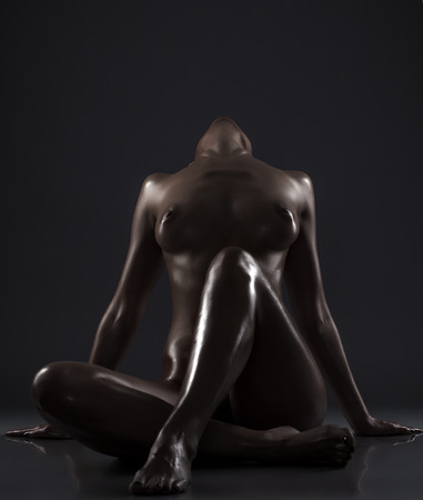 naked silhouette: Image of sexy naked woman tilted her head back, close-up