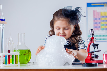 naturalist: Pretty naturalist evaluates results of experiment, close-up Stock Photo