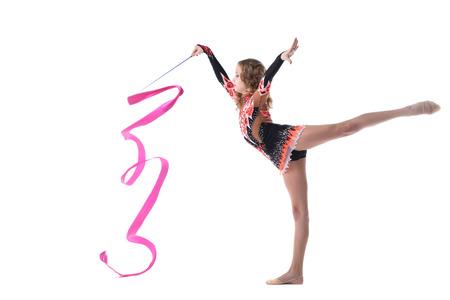 harmonous: Image of harmonous artistic gymnast dancing in studio Stock Photo
