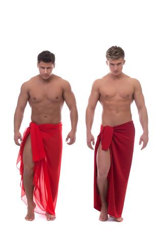 männer nackt: Bild von schöner junge Männer mit nacktem Oberkörper, isoliert auf weiß Lizenzfreie Bilder
