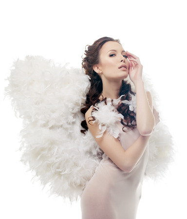 sexy costume: Image of charming sensual girl posing as angel, close-up