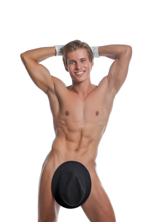 hat nude: Image of cheerful naked man posing with hat and gloves Stock Photo