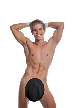 desnudo masculino: Imagen de la alegre hombre desnudo posando con sombrero y guantes Foto de archivo