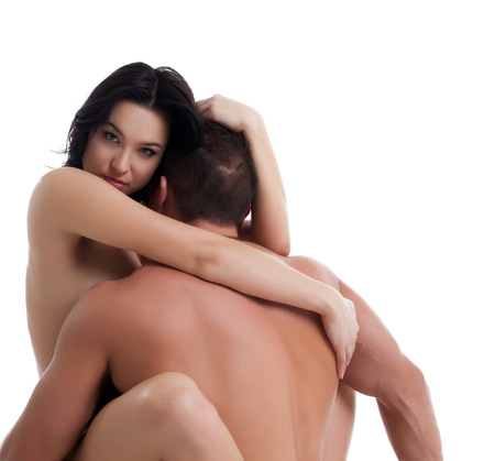 Portrait of beautiful naked woman hugging her husband photo
