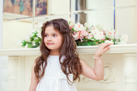 smartly: Portrait of lovely brown-eyed girl posing smartly dressed Stock Photo