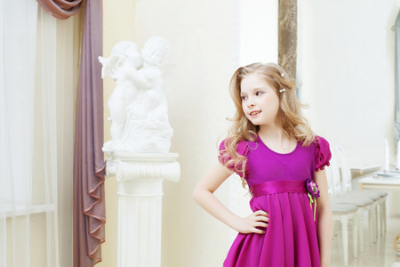 magenta dress: Image of merry blonde model posing in magenta dress