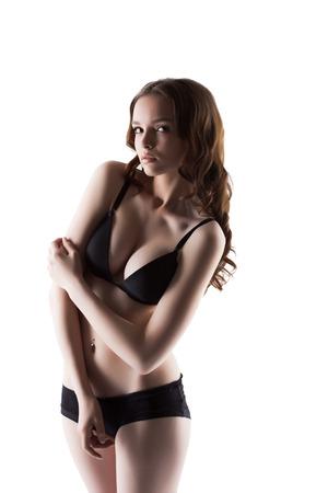 jungen unterw�sche: Studioaufnahme der nette junge Unterw�sche-Model, close-up