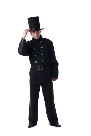 chimney sweep: Male model posing in carnival costume of chimney sweep