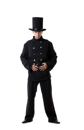 male costume: Image of pretentious man posing dressed as chimney sweep Stock Photo