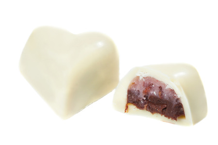 praline: Candy cane made of delicate white chocolate with filling