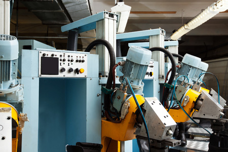 industrial machinery: Modern equipment for production of leather boots