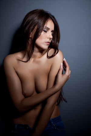 topless brunette: Portrait of beautiful topless woman posing with eyes closed