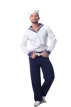backdop: Cheerful bearded sailor isolated on white backdop
