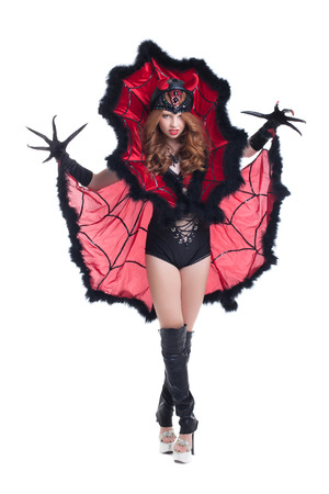 sexy costume: Image of sexy girl posing in devil costume for Halloween