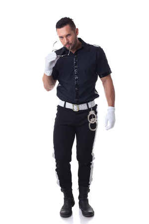 role model: Trendy bearded cop posing at camera, isolated on white Stock Photo