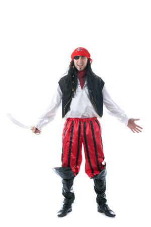 Cheerful man posing in pirate costume, isolated on white