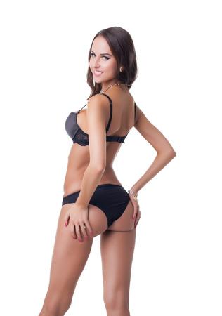 cuerpo femenino: Imagen de atraer modelo de ropa interior posando a la cámara Foto de archivo