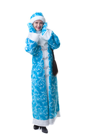 caftan: Pretty freckled girl dressed as Snow Maiden, isolated on white