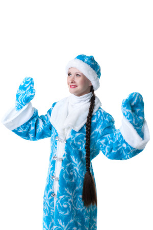 caftan: Portrait of lovely Snow Maiden, isolated on white background Stock Photo