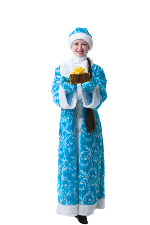 caftan: Adorable Snow Maiden with gift, isolated on white backdrop