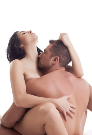 topless brunette: Exciting naked lovers posing at camera, isolated on white
