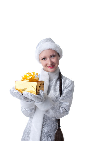 caftan: Portrait of beautiful Snow Maiden posing with gift box
