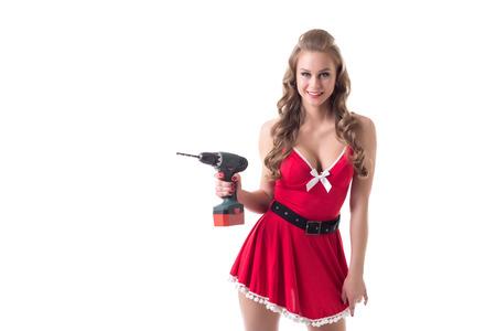 tetona: Modelo tetona hermosa vestida como Santa anuncia perforaci�n