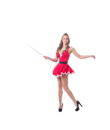 electrode: Beautiful female Santa waves electrode as magic wand Stock Photo