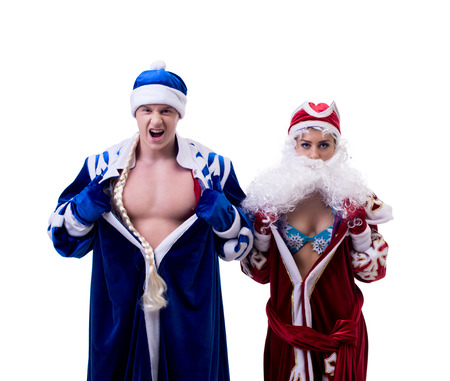 grandfather frost: Image of Grandfather Frost and Snow Maiden exchanged bodies Stock Photo