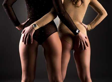 nude ass: Girlfriends put her hands on asses each other, close-up