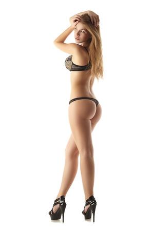 seins nus: Sexy jeune fille avec figure id�ale posant en lingerie �rotique Banque d'images