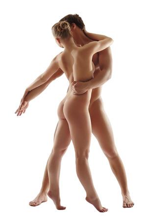 naked man: Concepto de la pureza de la danza. Bailarines desnudos Seductora, aislado en blanco Foto de archivo