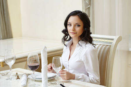 business dinner: Good looking brunette posing during business lunch Stock Photo