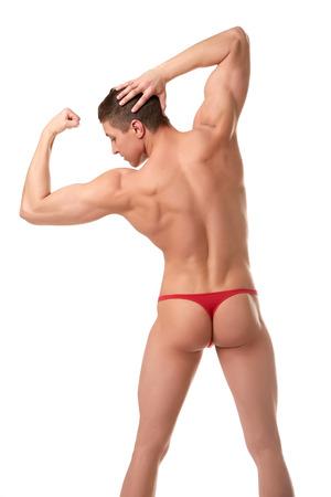 männer nackt: Rückansicht des halbnackten Bodybuilder zeigt Bizeps, isoliert auf weiß Lizenzfreie Bilder
