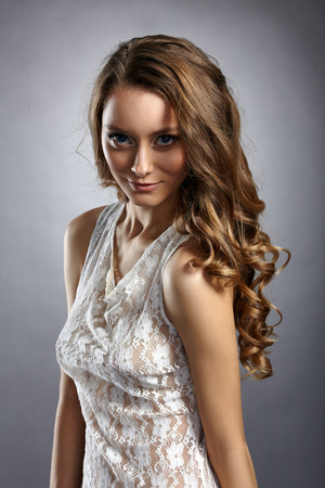 negligee: Fascinating young model posing in negligee, close-up Stock Photo