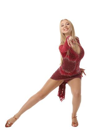 社交ダンスは、白で隔離の優雅な女性パフォーマー