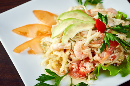 mouthwatering: Mouthwatering salad of shrimp and fresh vegetables, close-up
