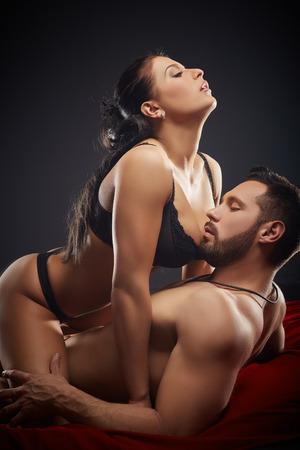 having sex: Studio shot of hot heterosexual couple having sex with abandon